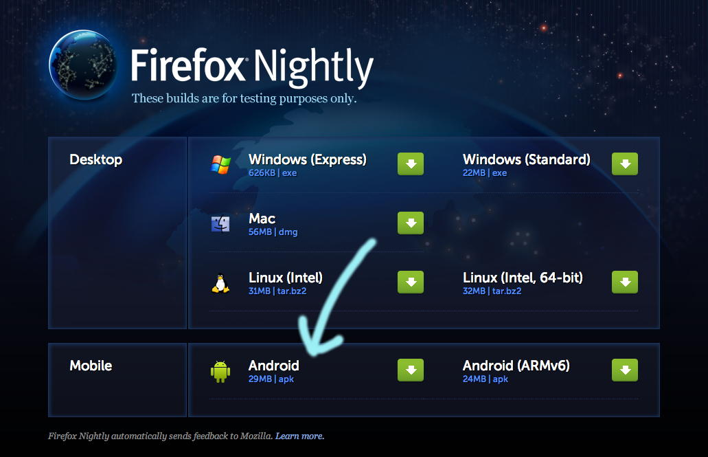 Firefox Nightly builds